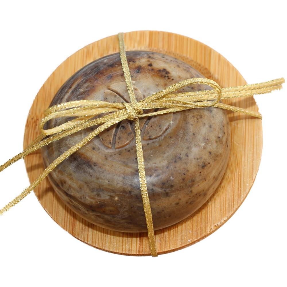 Kaffeeseife / Küchenseife rund mit Bambusschale rund