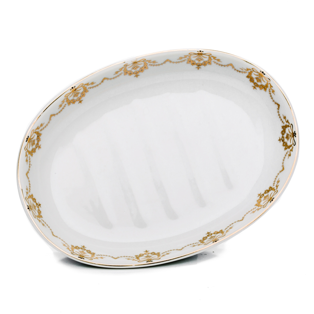 Keramik Seifenschale oval mit Blumengoldrand