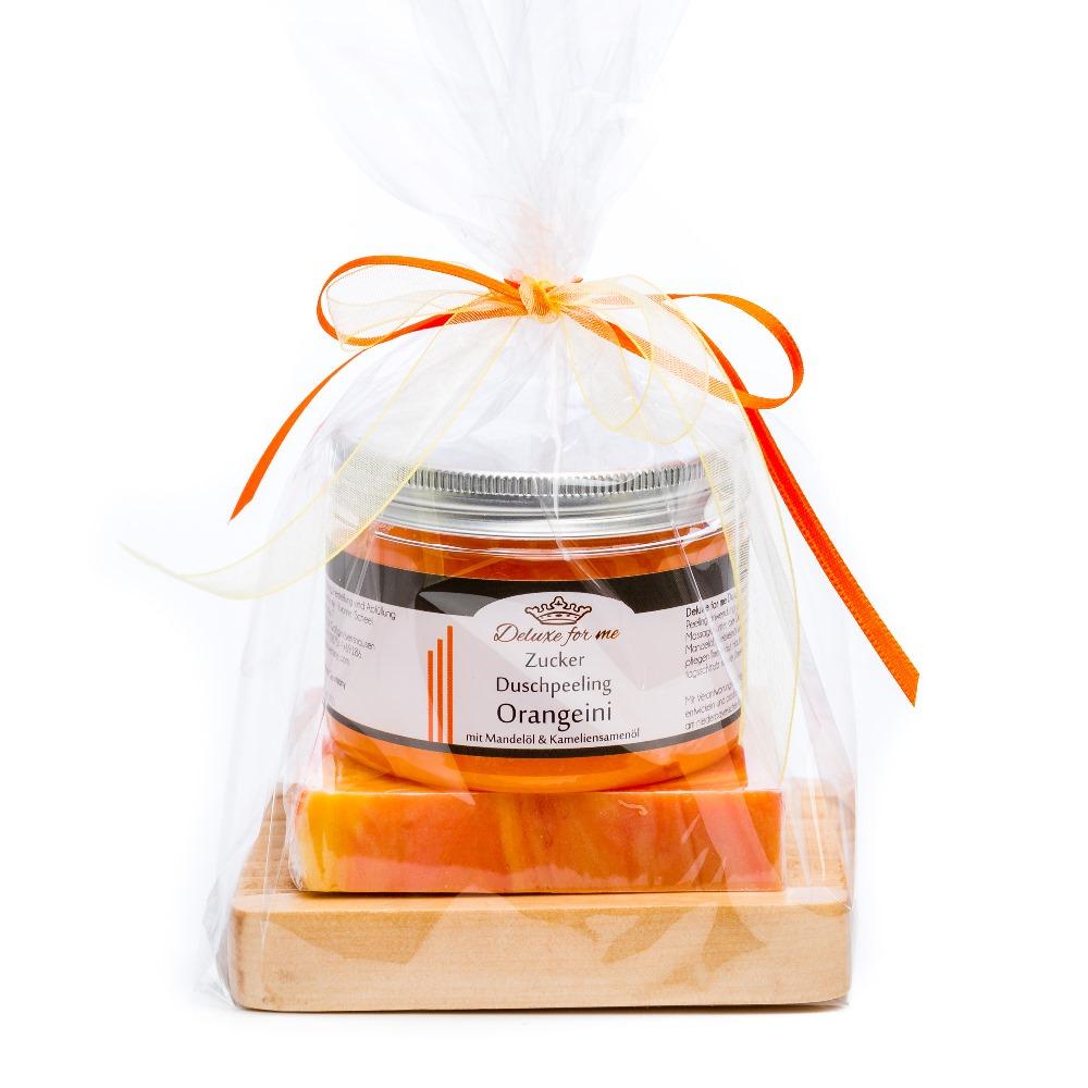 Geschenkeset Orange 3-tlg. (Zucker / Seife / Holz)