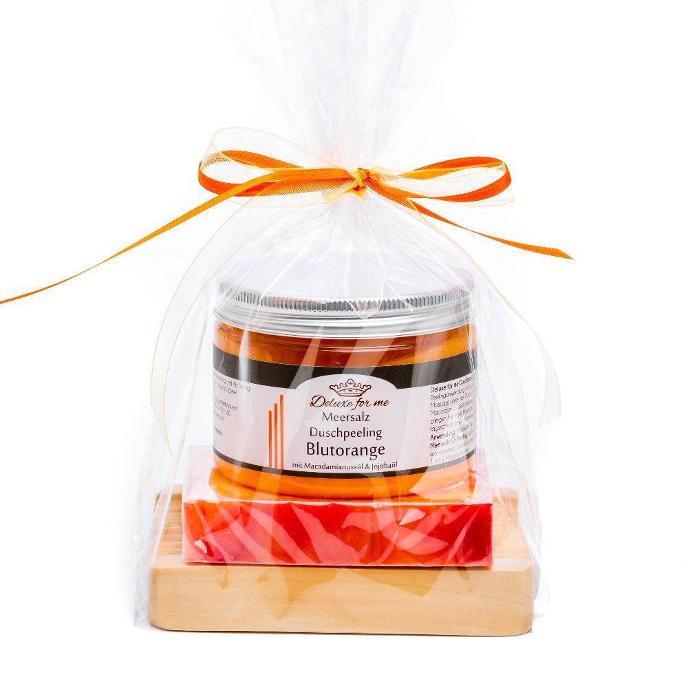 Geschenkeset Orange 3-tlg. (Meersalz / Seife / Holz)