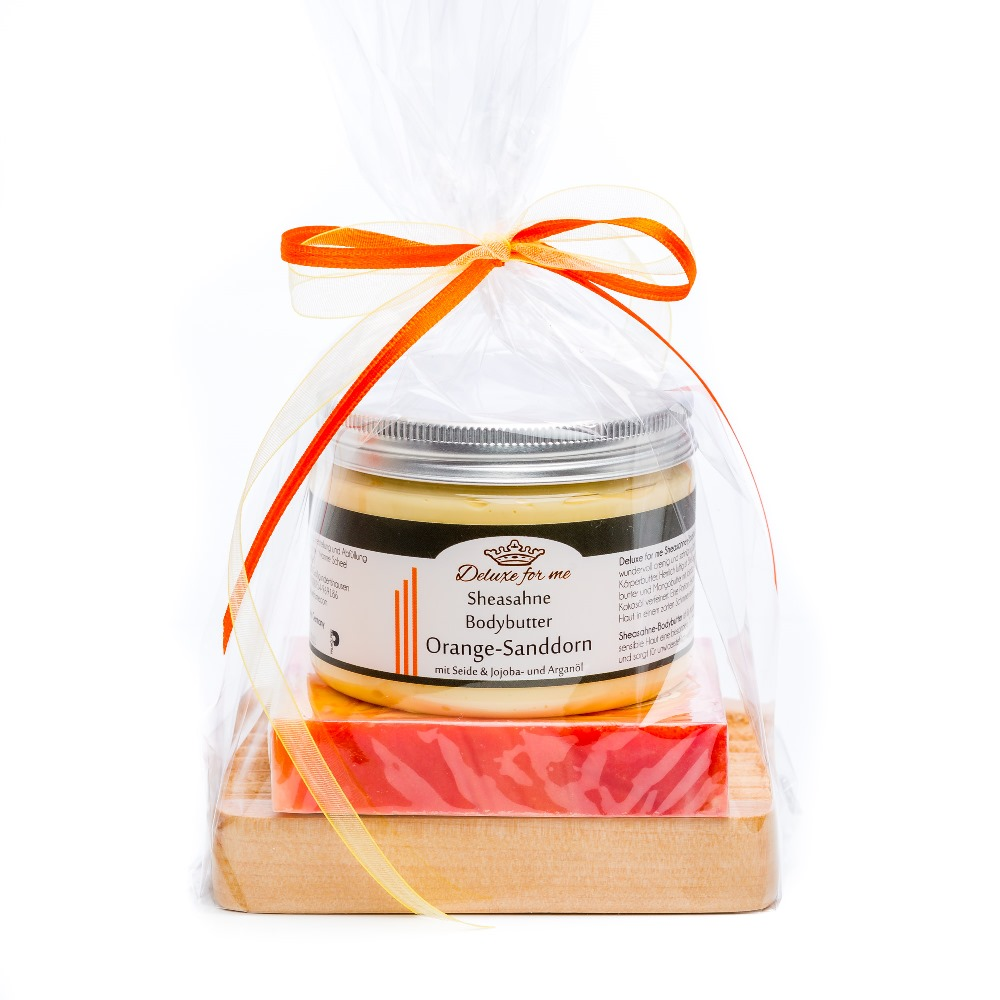 Geschenkeset Orange 3-tlg. (Bodybutter / Seife / Holz)