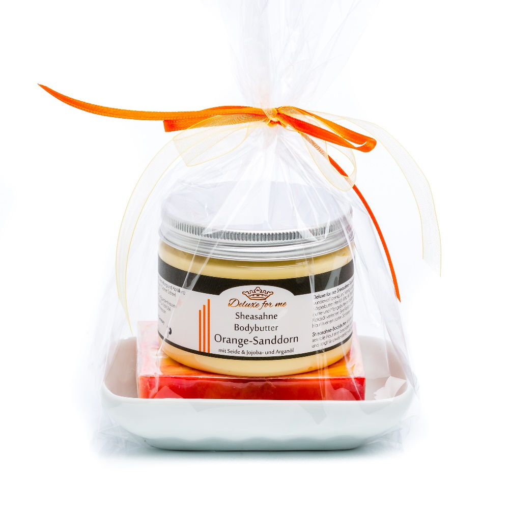 Geschenkeset Orange 3-tlg. (Bodybutter / Seife / Keramik)