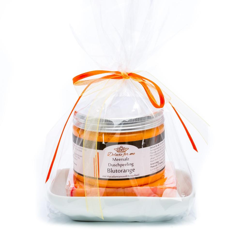 Geschenkeset Orange 3-tlg. (Meersalz / Seife / Keramik)