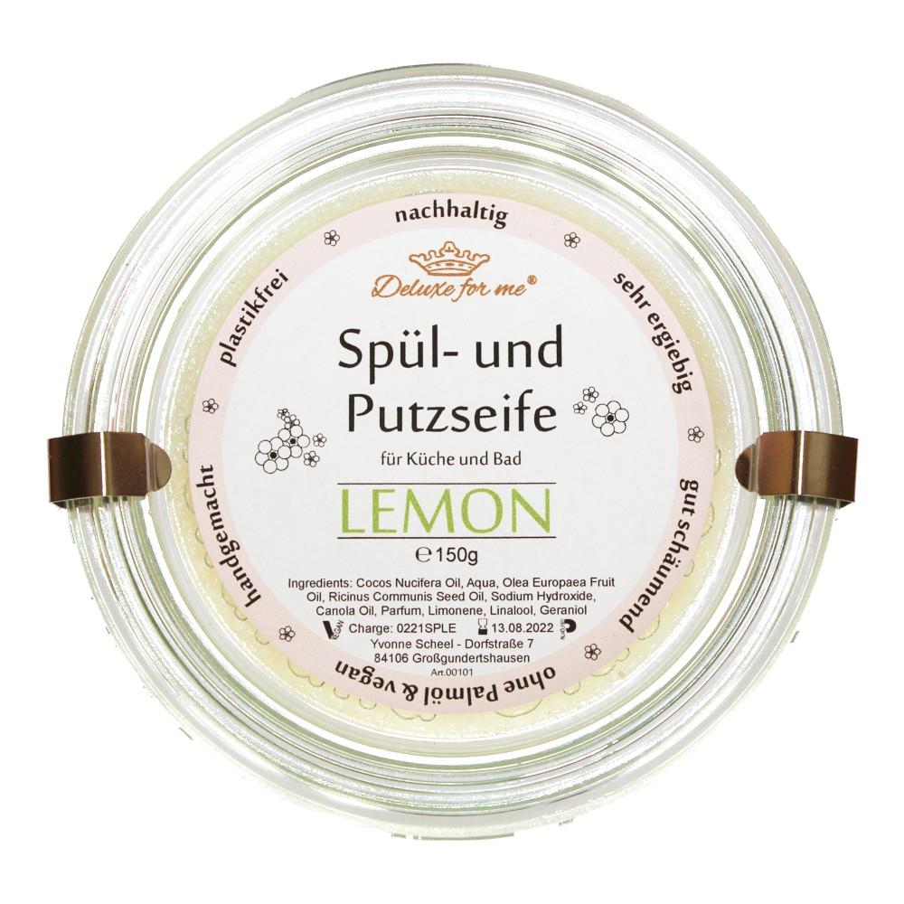 Spül-/ Putzseife Lemon im Weck-Glas auf Kork-Untersetzer
