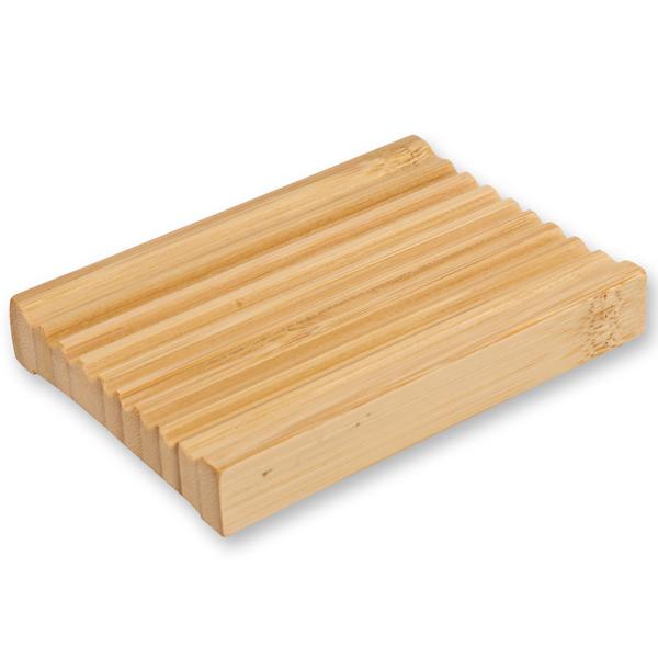 Bambus Seifenschale eckig mit Rillen