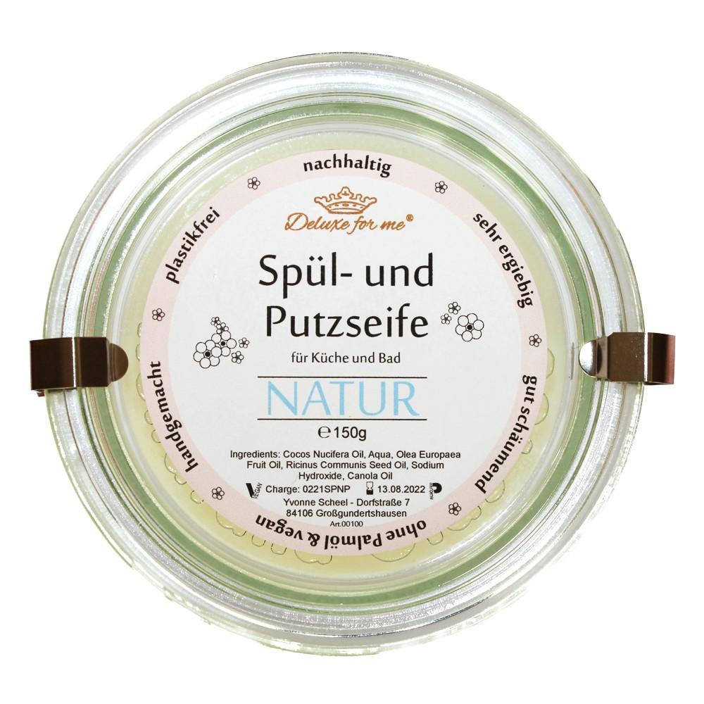 Spül-/ Putzseife Natur Pur im Weck-Glas auf Kork Untersetzer