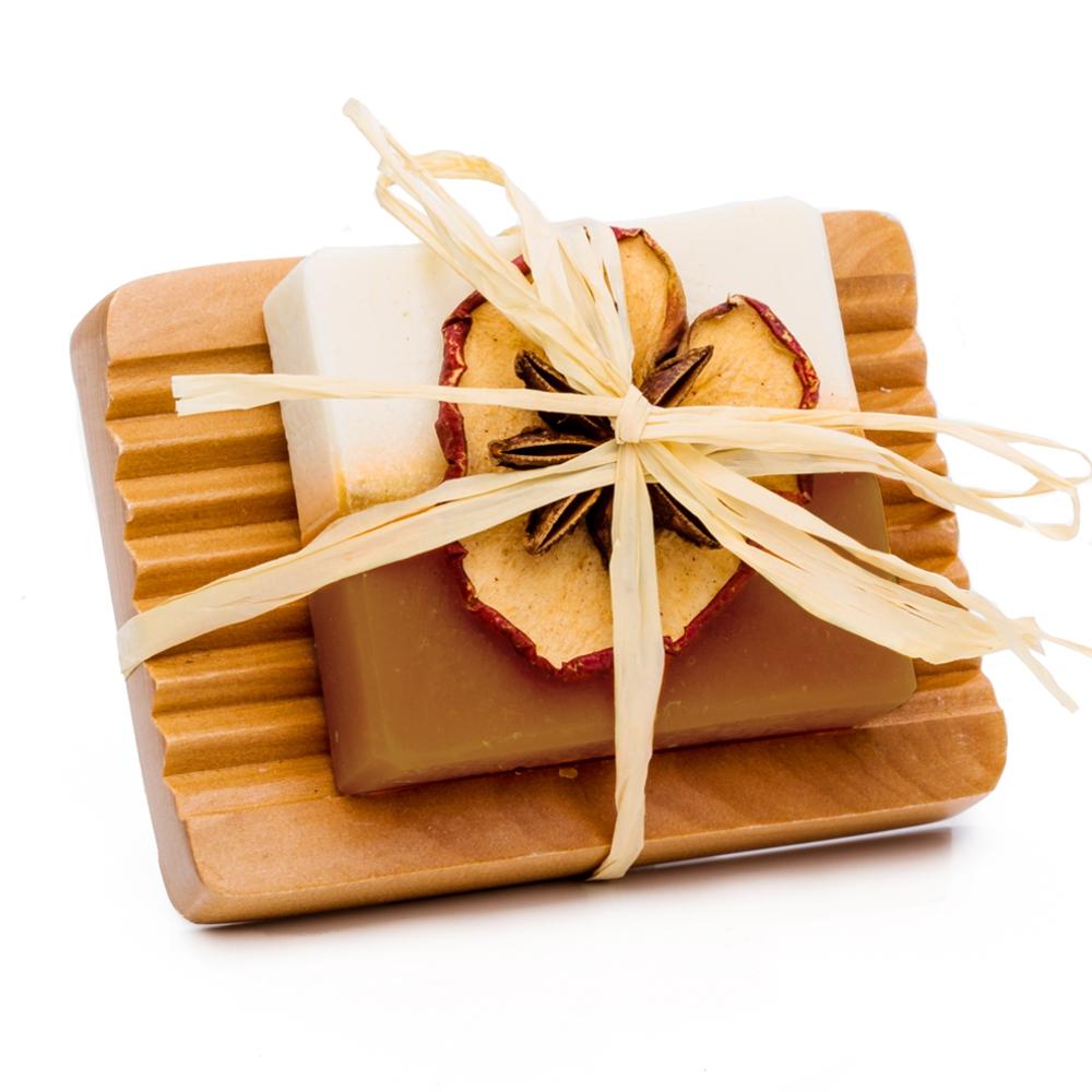 Zimt – Vanille – Orangen Seife mit Holzseifenschale