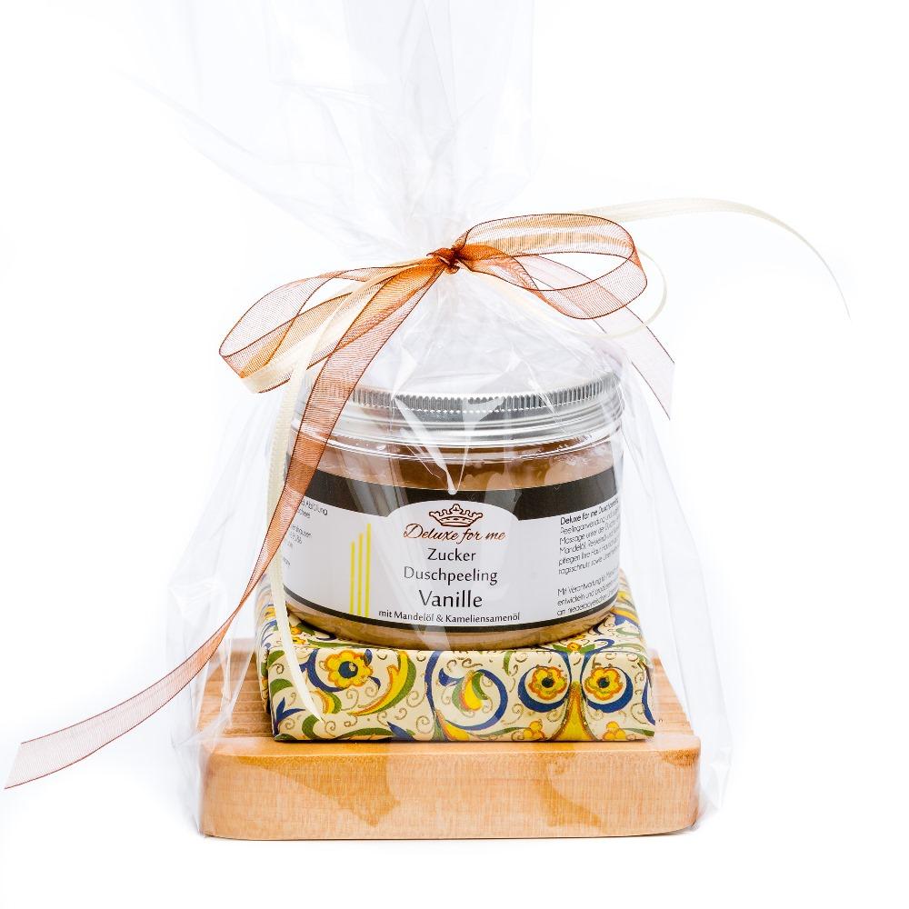 Geschenkeset Vanille 3-tlg. (Zucker / Seife / Holz)